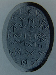 magical sigils on a 3rd Century AD gem talisman